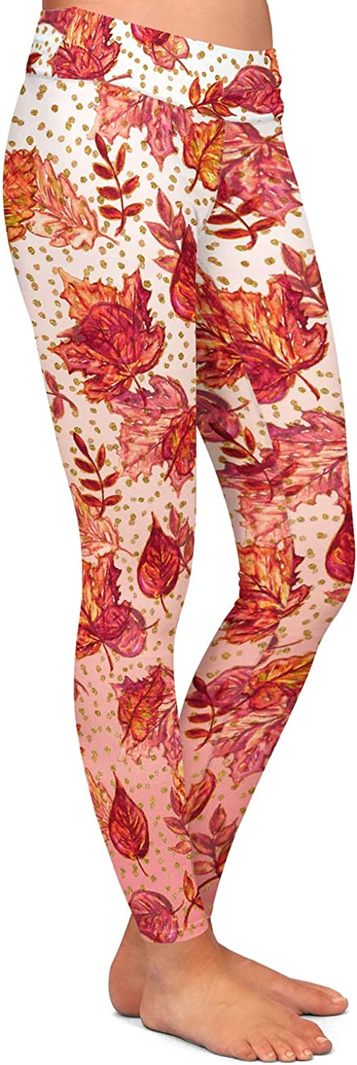 Ombre Autumn Pink red Athletic Yoga Leggings from DiaNoche Designs by Julia Di Sano