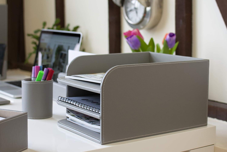 color Grey 3 Tier Bandeja para cartas OSCO BKPUD5TT de piel sint/ética con 5 niveles