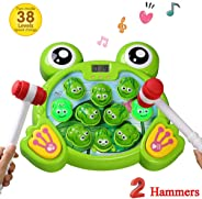 amdohai Whack A Frog Game Interactive Pounding Toy Fun Gift Idea for Age 2 3 4 5 6 7 8 Year Old Kids, Boys, Girls (2 Hammers
