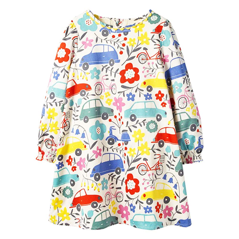 Tkria Little Girls Dress, 100% Cotton Floral Printed Dress for Kids, Casual Dress for Toddler Girls Size 1-7T
