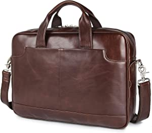 "Augus Leather 16"" Laptop Briefcase for Men Shoulder BagTravel Messenger Duffle Bags handbag Waterproof Brown With YKK Zipper"