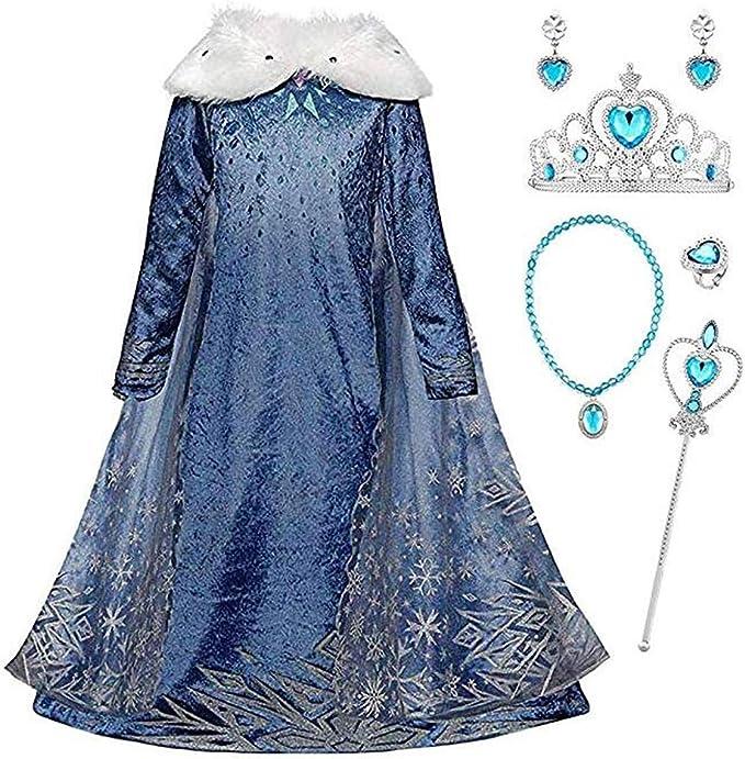 IWFREE Niñas Cosplay Vestido de Princesa Elsa con Capa Vestido de ...