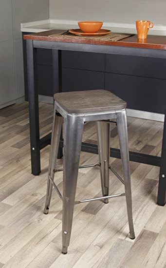 GIA Gunmetal 30u0026quot; Metal Stool with Dark Wooden Seat(Set of 4) - : tolix stool wooden seat - islam-shia.org