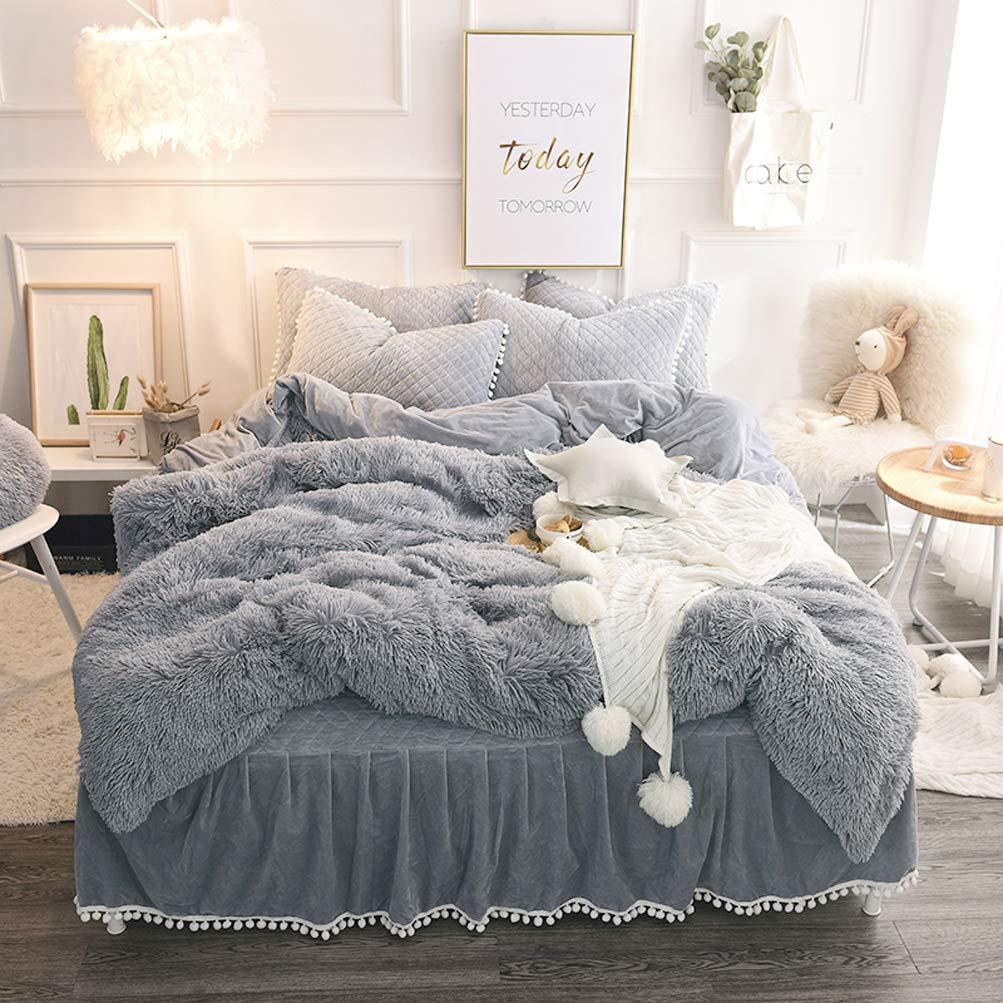 LIFEREVO Luxury Plush Shaggy Duvet Cover Set (1 Faux Fur Duvet Cover + 2 Pompoms Fringe Pillow Shams) Solid, Zipper Closure (Queen Gray