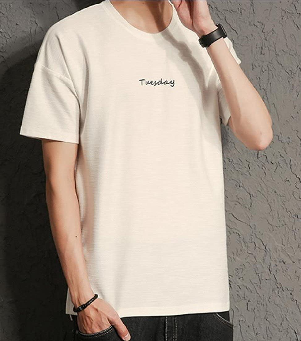 Honey GD Mens Slim Fit Embroidered Pullover Short-Sleeve T-Shirt Top
