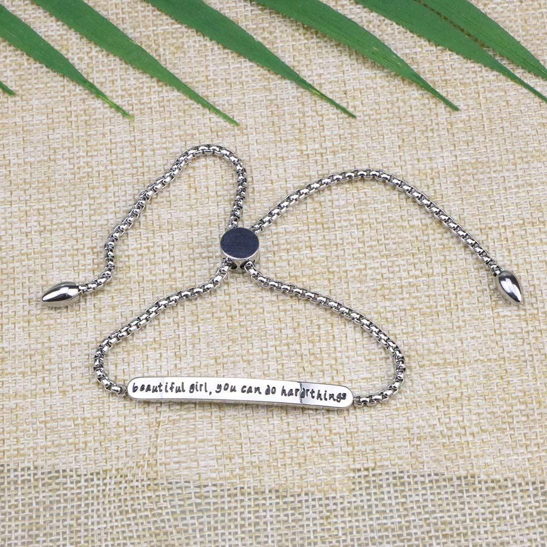 Joycuff Beautiful Girl You Can Do Hard Things Bracelet Adjustable Stainless Steel Link Chain Self Esteem Inspirational Gift for Daughter Graduation