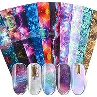 Nail Foil,Nail Foils Nail Art,Nail Foil Polish Stickers Mix Retro Style Starry Sky Transfer Foil Nails Decal Sliders For Foil Nail Art (10pcs Nail Foils)