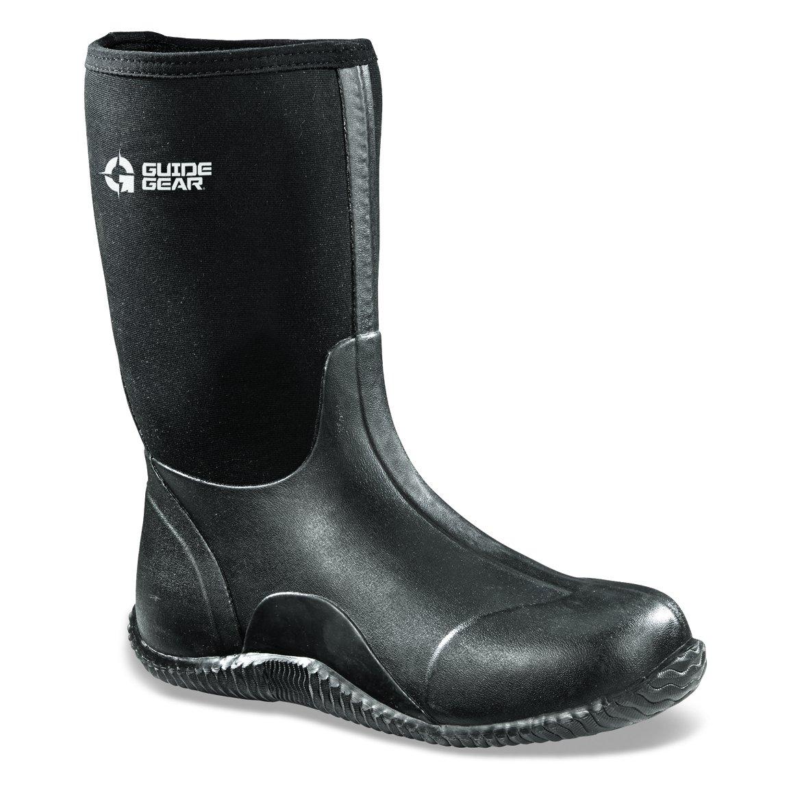 Guide Gear Men's Mid Bogger Waterproof Rubber Boots, Black by Guide Gear