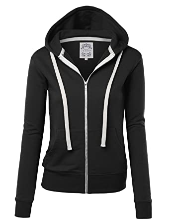 a5be2a4f5d74 Made By Johnny WSK954 Womens Active Fleece Zip Up Hoodie Sweater Jacket S  Black
