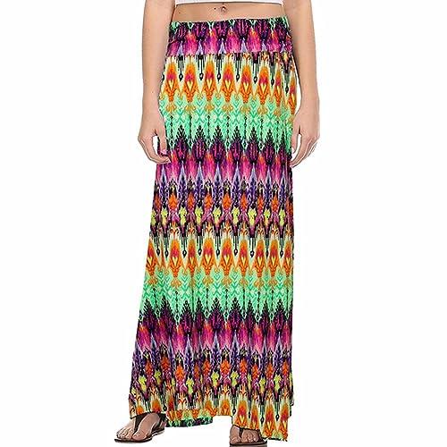QIYUN.Z Mujeres Vacaciones Casual Tobillo Longitud Patrón Impreso Vintage Faldas Largas