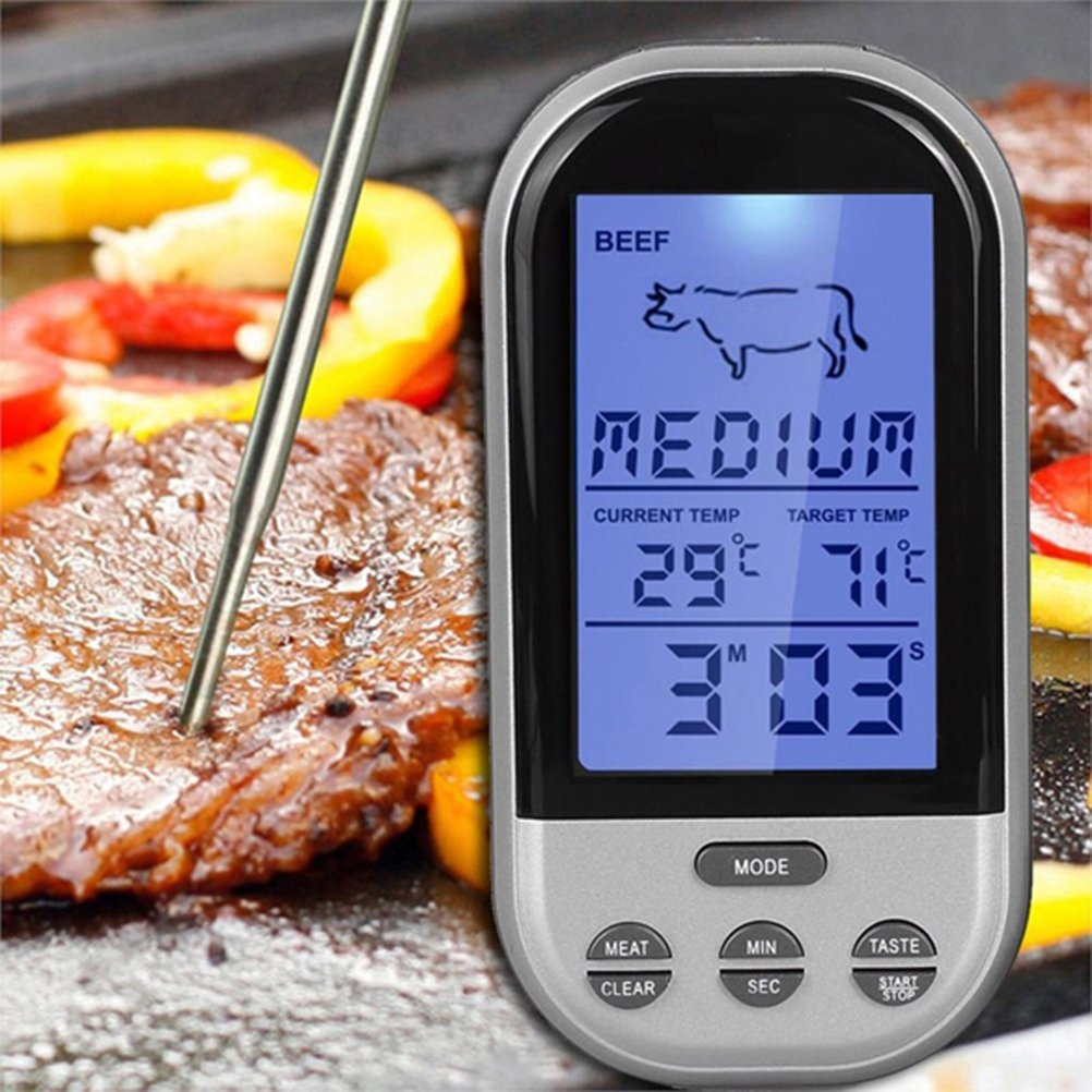Digital Meat Thermometer, Wireless Remote Instant Read Thermometer with Probe Electronic Food Thermometer with Large LCD Display and Timer Alarm for Kitchen Cooking, BBQ, Oven, Grill, Smoker Demana