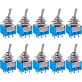 Taiss 10Pcs mts-202 6A 125VAC 6-Pin DPDT ON/ON 2 Position Mini Toggle Switch