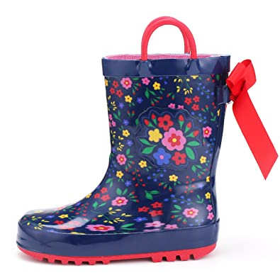 KomForme Kids Girl Boy Rain Boots, Waterproof Rubber Printed with Handles  in Various Prints and Different Sizes
