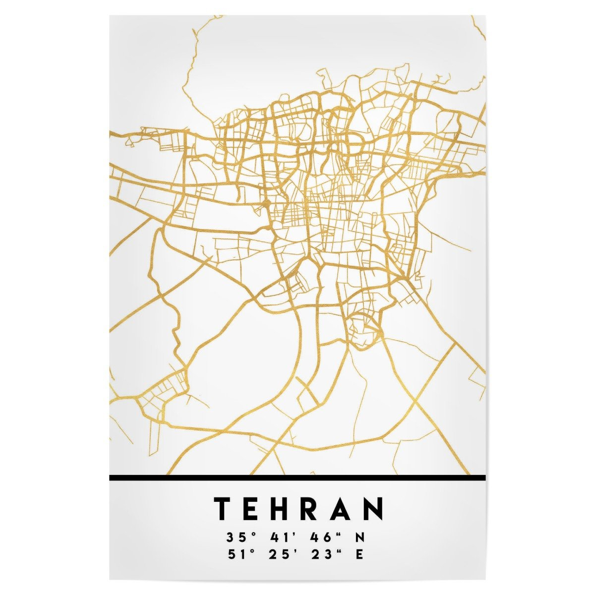 ArtboxONE Poster mit schwarzem schwarzem schwarzem Kunststoffrahmen 60x40 cm TEHRAN Iran Street MAP Art von Emiliano Deificus 6317b2