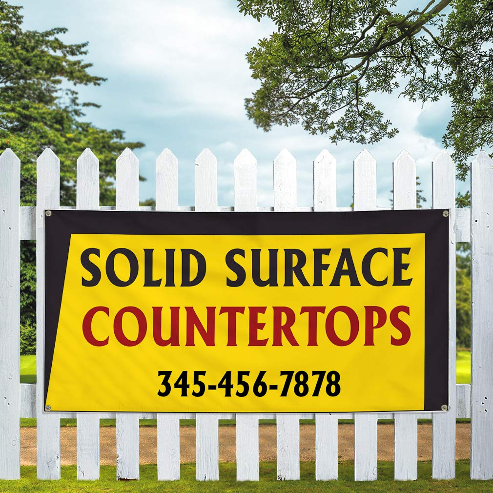 Custom Vinyl Banner Sign Multiple Sizes Solid Surface Countertops Phone Number Business Countertops Outdoor Yellow 10 Grommets 60inx144in One Banner