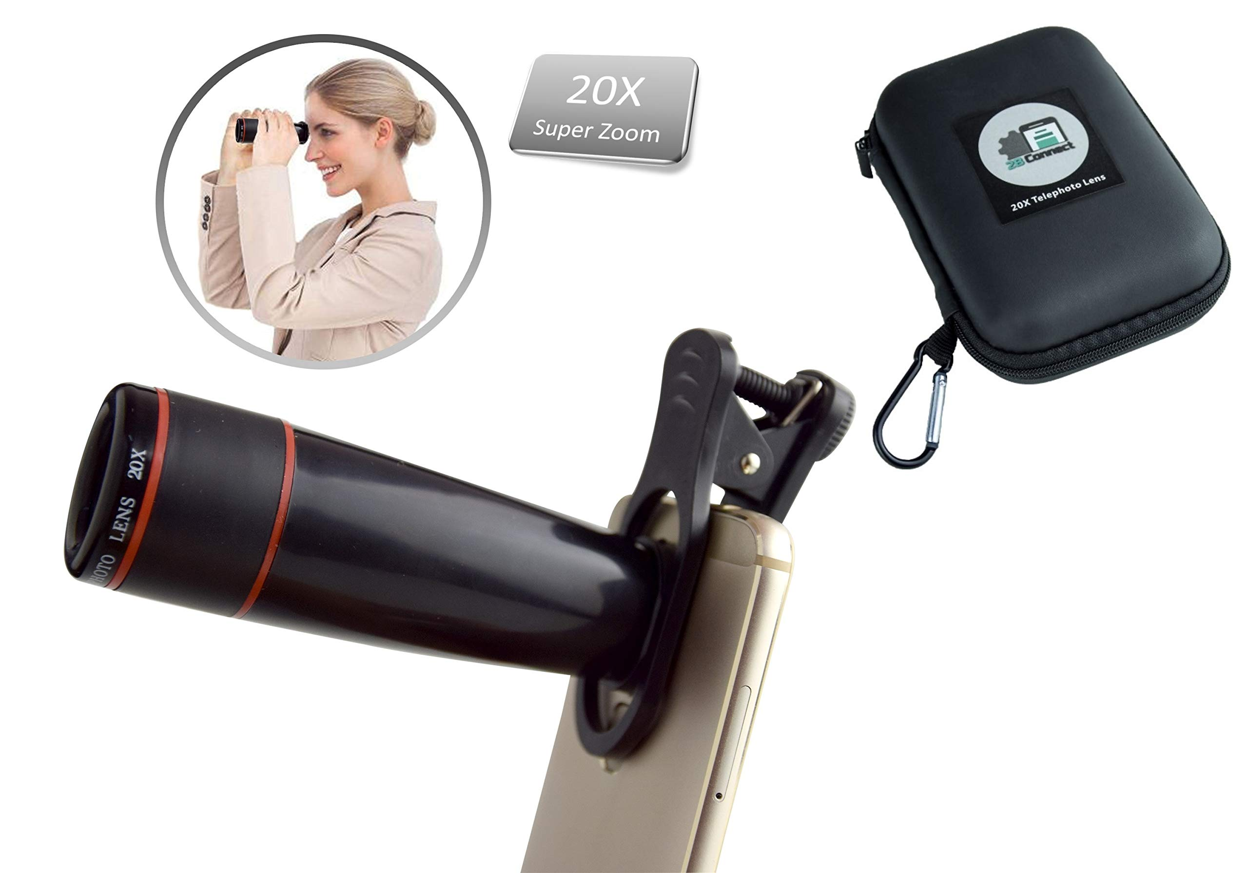2BConnect Cell Phone Lens Telephoto Universal 20X Optical Zoom Lens. Universal Clamp Supports Most Smartphones Such as Samsung iPhone Camera Lens - Monocular Lens kit with Compact Elegant Carry case