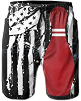 Bowling, American Flag Men's Swim Trunks With Pockets