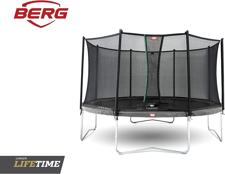Berg | Cama elástica Favorit 270 cm Ø | Red de Seguridad Comfort autocerrante | Protector muelles Color Gris | para Exterior | Uso doméstico |