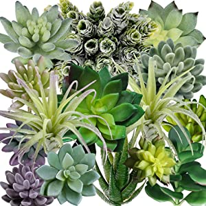 Supla 15 Pack Assorted Artificial Succulents Plants Fake Succulents Plants Unpotted Fake Cactus Textured Aloe for Floral Arrangement Wedding Party Accents