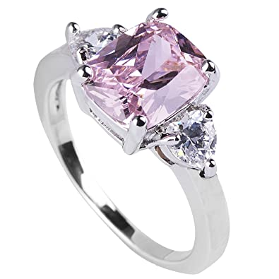 queenwish pink sapphire engagement rings princess cut in sterling silver wedding jewelry size 55 - Sapphire Wedding Rings