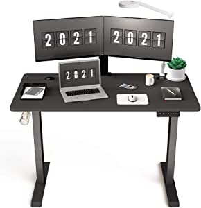 HisoHu Electric Height Adjustable Standing Computer Desk, Ergonomic Sit Stand Home Office Workstation Table(48 x 24 Inches Black Tabletop/Black Bracket)