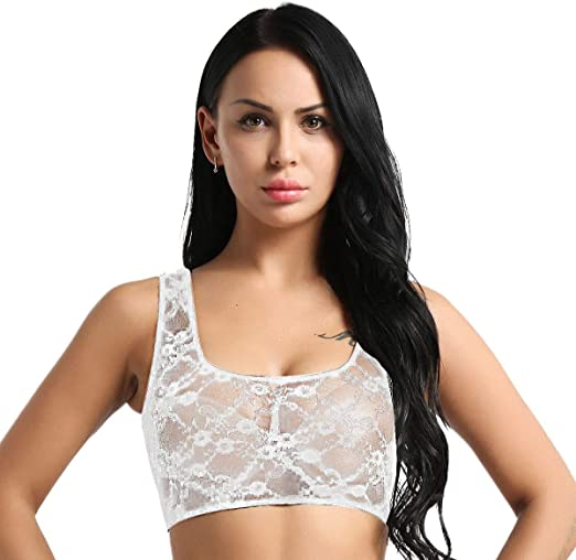 Womens Plus Size Mesh Cap Sleeve Scoop Neck Crop Top Bralette