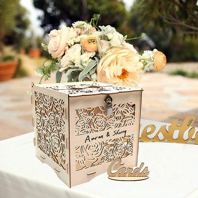 Amazon.com: Caja para tarjetas de boda con cerradura y ...