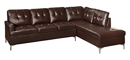 Homelegance 2 Piece Tufted Accent Sectional Sofa With Chaise Bi Cast Vinyl,  Brown