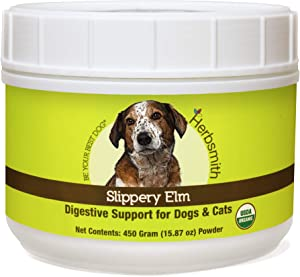 Herbsmith Organic Slippery Elm - Digestive Aid for Dogs and Cats - Constipation Relief for Dogs and Cats - Megaesophagus Dog Aid