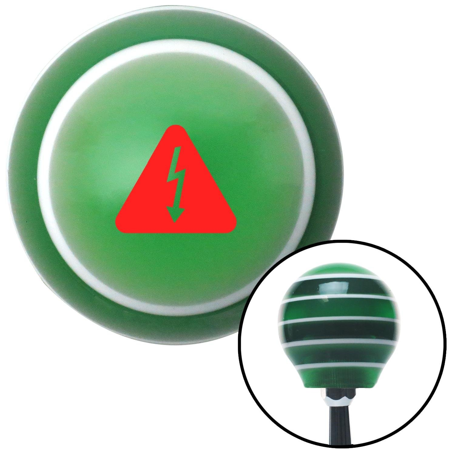 American Shifter 274910 Shift Knob Red High Voltage Green Stripe with M16 x 1.5 Insert