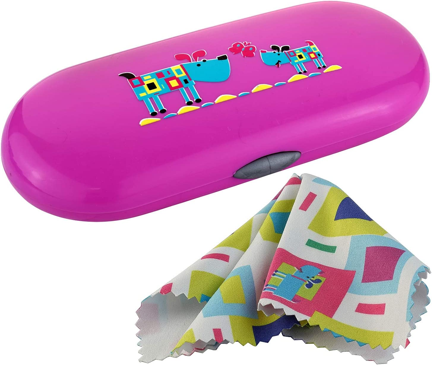 Childrens Glasses Case with Matching Microfiber Cloth Fuchsia - Dancing Dogs