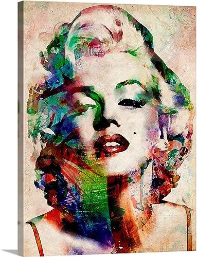 Marilyn Urban Watercolor Canvas Wall Art Print