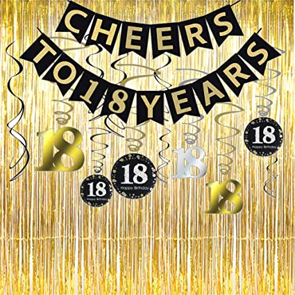 18th Birthday Party Decorations KIT - Cheers to 18 Years Banner, Sparkling Celebration 18 Hanging Swirls,Gold Foil Fringe Curtain, Perfect 18 Years ...