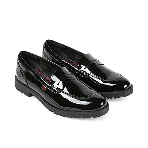 fd98d313687 Kickers LACHLY Ladies Patent Leather Penny Loafers Black 37  Amazon.co.uk   Shoes   Bags