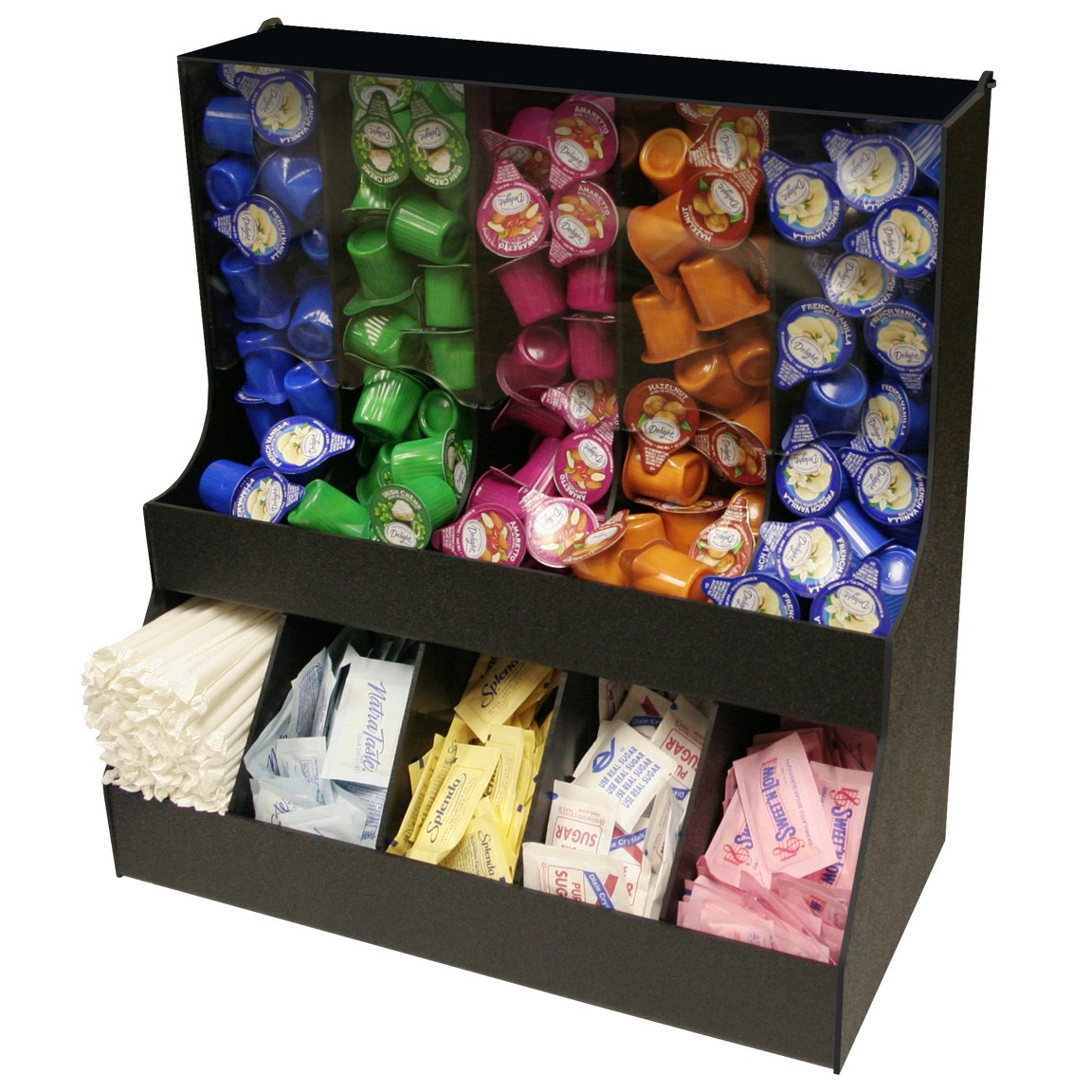 Large Professional Coffee Condiment Organizer 18'' Wide, with 5 Gravity Columns with Lid & 5 Compartments for Sugars,Creamers. 18 1/2'' W x 16'' High. Made in the USA! by PPM.