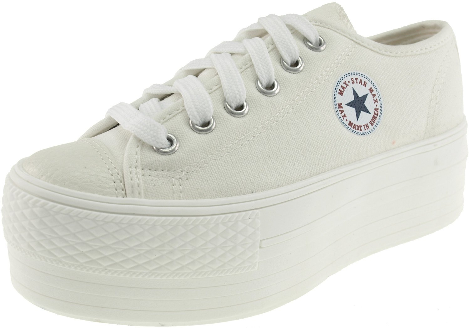 Maxstar Women's C50 6 Holes Platform Canvas Low Top All Sneakers White 7 B(M) US