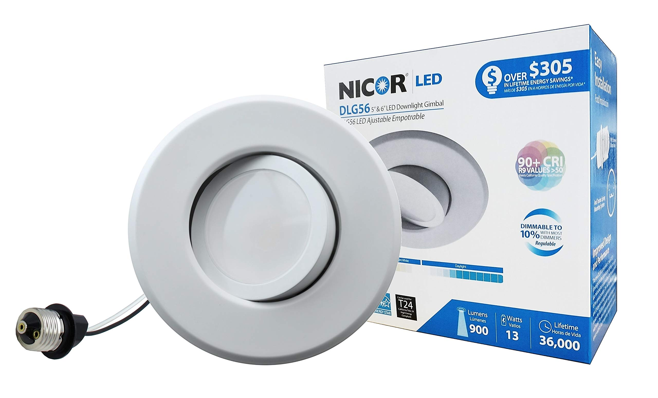 NICOR Lighting 5/6-Inch Dimmable 4000K LED Gimbal Recessed Downlight, White (DLG56-10-120-4K-WH)