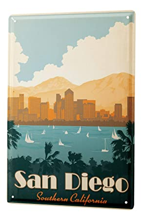 Cartel de chapa Placa metal tin sign Deco Ciudad San Diego ...