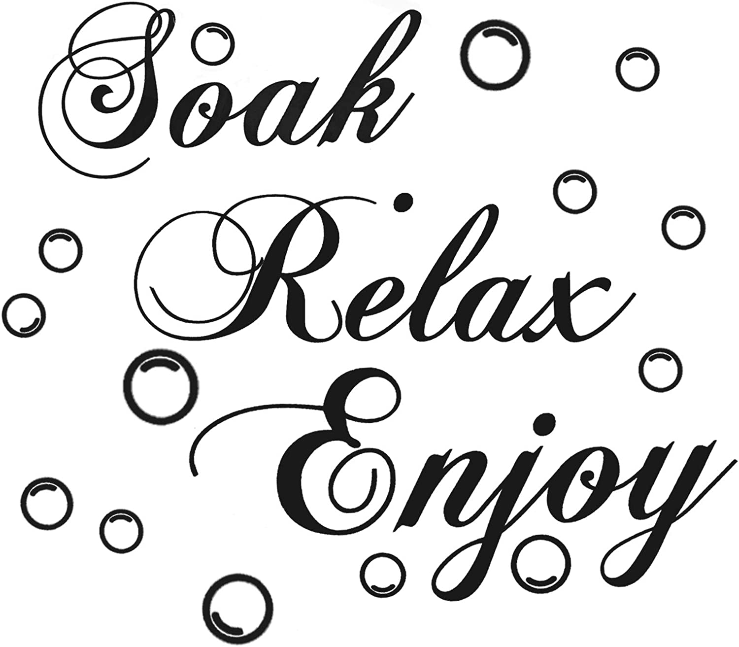 funvce Bathroom Wall Decals Soak Relax Enjoy Stickers,Wall Art Decal Quotes Stickers,Beautiful Art Words Decor for Home Bedroom Living Room (17.7x11.4 inch)