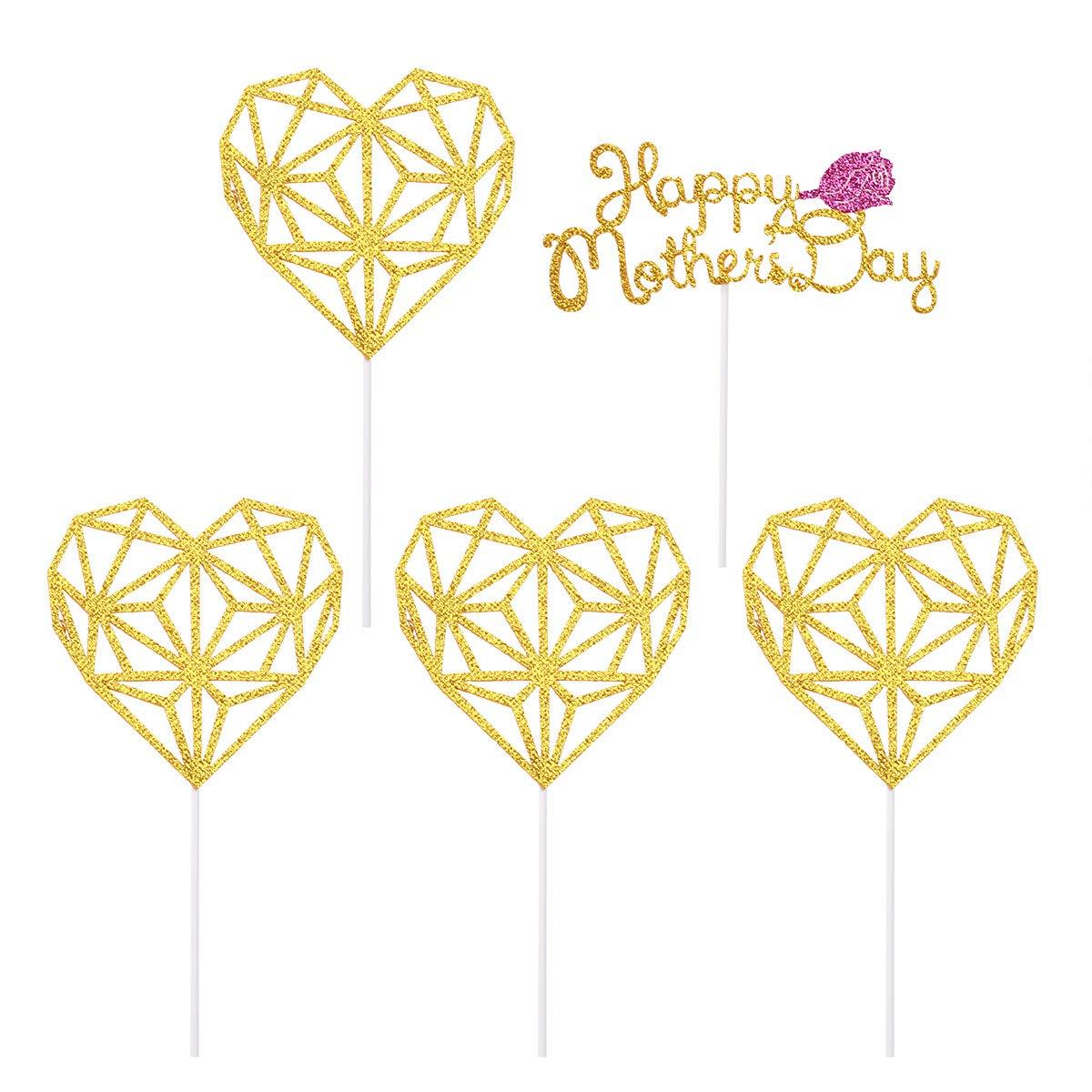 Amosfun 5 unids Feliz Día de la Madre Cake Toppers Glitter corazón Cupcake Toppers Decoraciones de la Torta día de la Madre Suministros de Fiesta Decoraciones