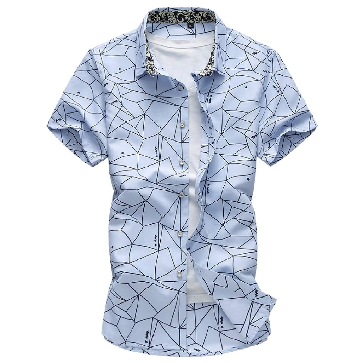 QUHS Mens Short-Sleeve Print Leisure Plus-Size Fashion Button Down Dress Shirt