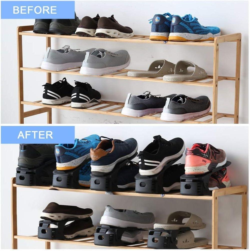 10pezzi creativo durevole regolabile scarpiera salvaspazio HOBFU Shoe Organizer per il risparmio di spazio di archiviazione delle scarpe Black