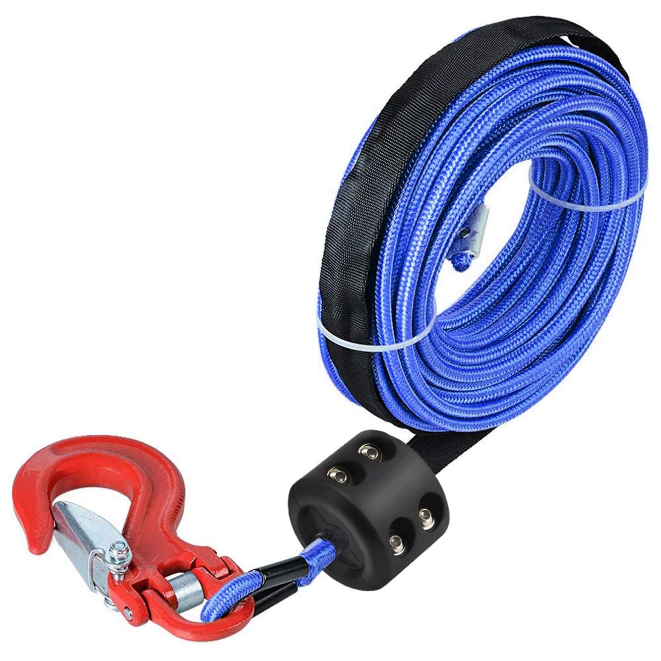 ATV UTV Winch Stopper Rubber Heavy Duty Cable Line Saver Waterproof Synthetic Rope Hook Allen Wrench Protect Hawse and Fairleads Quick Installation