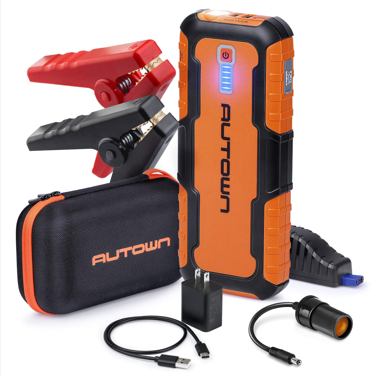 AUTOWN Car Jump Starter - 21000mAh 1000A Peak, 12V Auto Battery Booster with Quick Charge (Up to 8.0L Gas, 6.5L Diesel Engine), Portable Power Pack & Jump Box with Smart Jumper Cables and LED Light