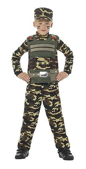 SmiffyS 48209S Disfraz De Camuflaje Militar Para Niño De Color Con Parte De Arriba, Verde, S