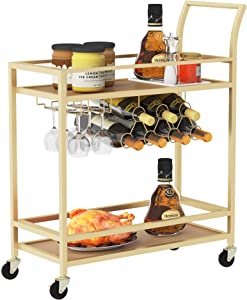 Wine Bar Serving Cart for Home, Wine Trolley Rolling Bar Cart with Wheels, Handle, Metal Wine Rack Storage, Glass Bottle Holder & 2 Mirrored Shelves for Kitchen, Club, Living Room, Bar