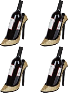"Hilarious Home 8.5"" x 7""H High Heel Wine Bottle Holder - Stylish Conversation Starter Wine Rack (Black Sequin, Set of 4)"
