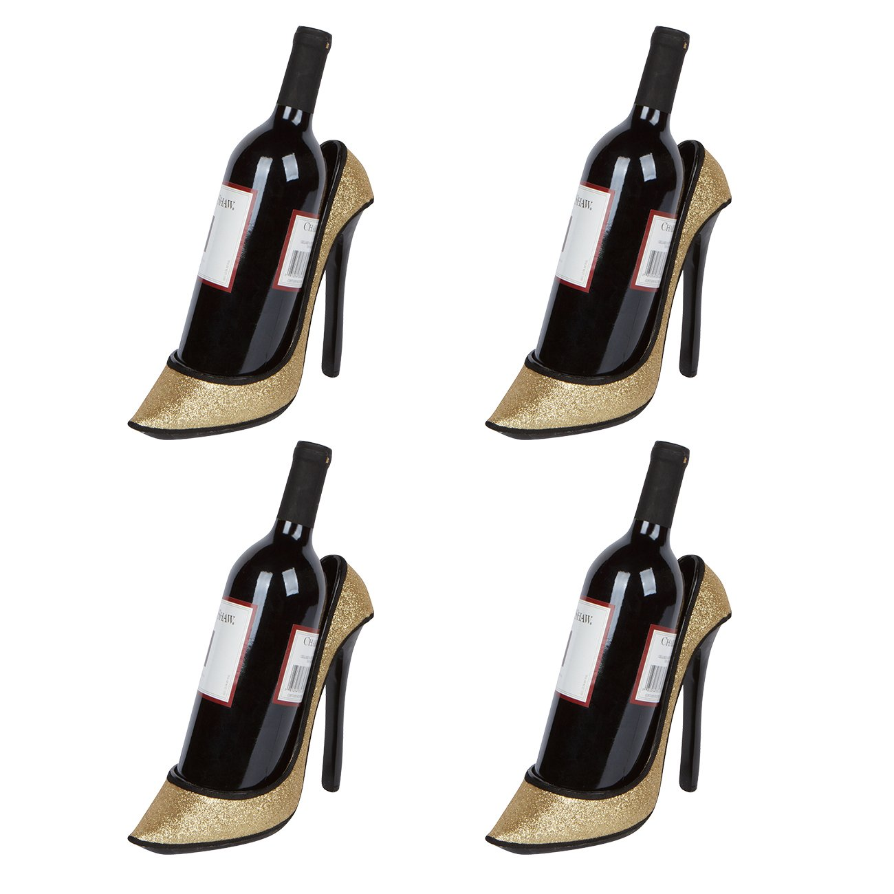 8.5'' x 7''H High Heel Wine Bottle Holder - Stylish Conversation Starter Wine Rack By Hilarious Home (Black Sequin, Set of 4) by Hilarious Home
