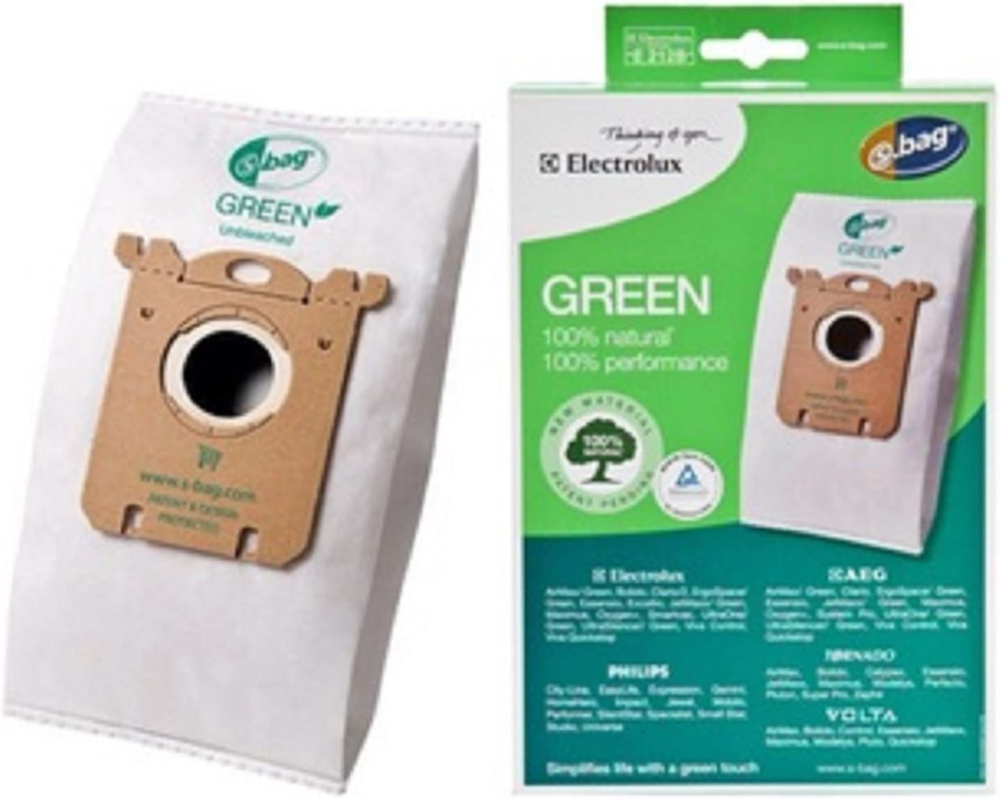 Electrolux Canister Type S Green 100 % Natural Filter Paper Bags 3 Pk Part # E212B