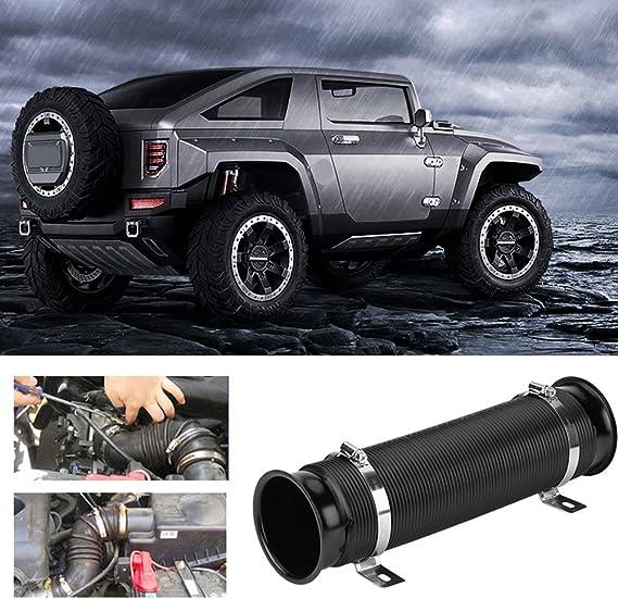 Luftansaugrohr 76mm 3 Inch Universal Auto Kaltluftaufnahme Aus Aluminium Gummi Flexible Rohr Schlauch Kit 32 5 X 9cm Schwarz Auto